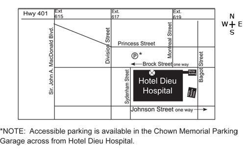 Carte pour se rendre à EnfantsInclus à l'Hôpital Hôtel-Dieu.