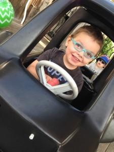 Smiling boy in car