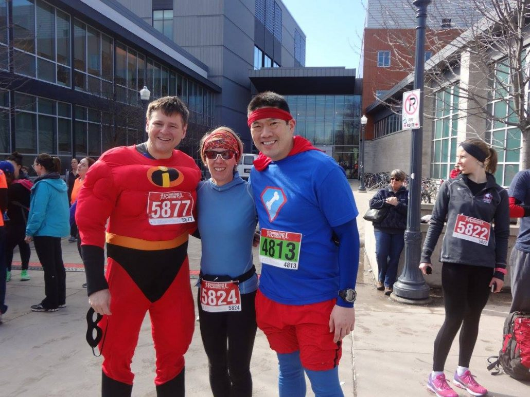 Dr. Jonathan Lau (far right) in superman style along with Mr. Incredible - Dr. Dan Borschneck and Kristy Brundage!
