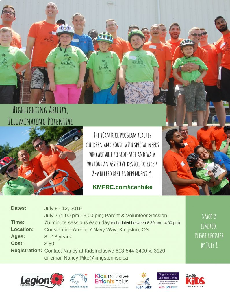 iCanBike 2019. Contact Nancy at KidsInclusive for details.