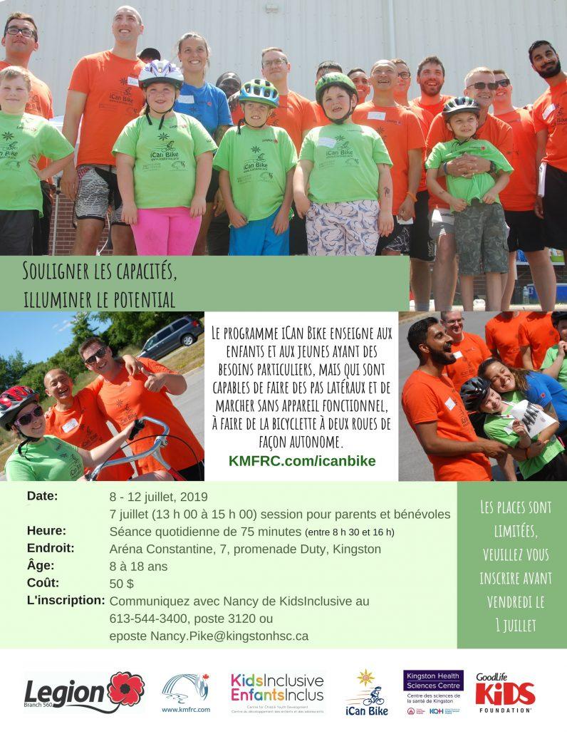 Programme iCanBike a Kingston, 8-12 Juillet, 2019. Contacte Nancy pour les detailles.