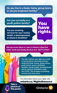 Poster for the new online Children and Young Persons' Rights Resource (www.ontario.ca/RightsResource)